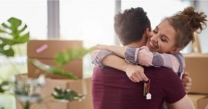 couple hugging after moving in together
